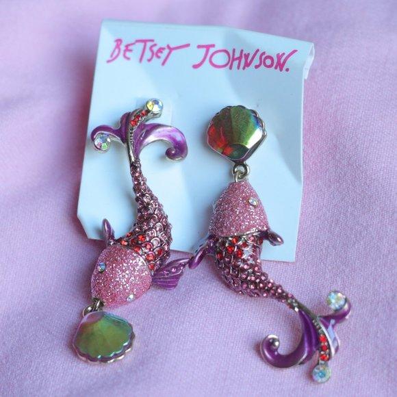 Betsey Johnson Pink glittern fish earrings